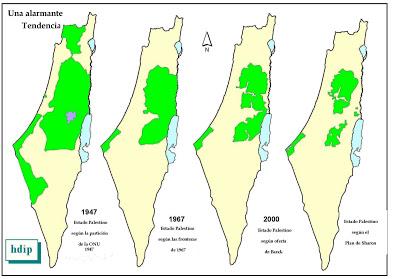 Desde 1947, Israel já tomou quase todas as terras do palestinos. Verde é Palestina e Branco Israel
