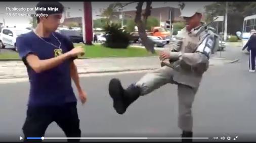 Polícia bate em Estudante