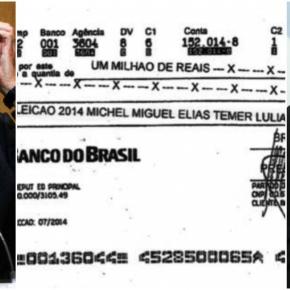 Propina foi paga diretamente a campanha de Temer, como mostra cópia doCheque