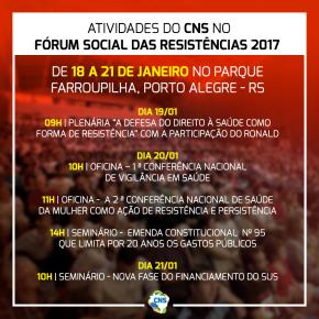 CNS -Conselho Nacional da Saúde- no FÓRUM SOCIAL DASRESISTÊNCIAS