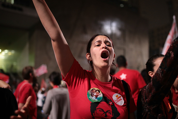 Celebration of Dilma Rousseff's Re-Election in Sao Paulo, Brazil