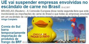 Começamos a pagar o pato no frango. Coreia e UE suspendemimportações.