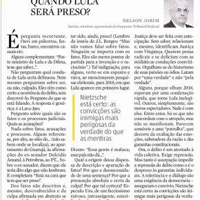 Nelson Jobim escreve contundente artigo em defesa deLula