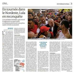 Le Monde da França mostra que multidões seguem Lula em suacaravana