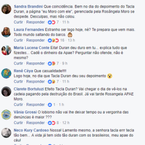 "Mulher de Moro se despede na Página ""Eu MORO"" do facebook após depoimento de TaclaDuran"