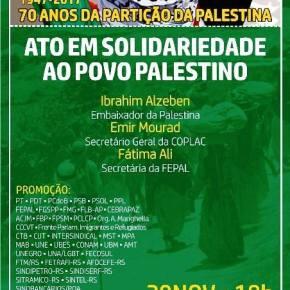 Ato de Solidariedade ao Povo Palestino em Porto Alegre será quarta-feira,29/11