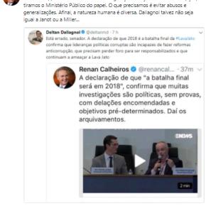 Via Twitter, Renan Calheiros mostra Dallangol que a Lava Jato é uma fraude amparada no abuso deautoridade
