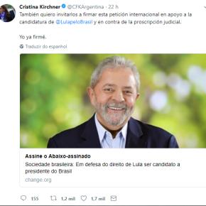 Cristina Kirchner  pede assinaturas a petição internacional em apoio aLula