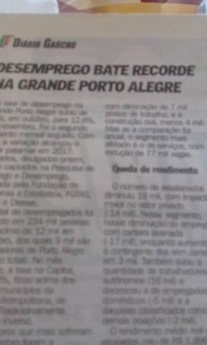 DESEMPREGO BATE RECORDE EM PORTO ALEGRE E VALOR DOS SALÁRIOS CONTINUARÃO ACAIR