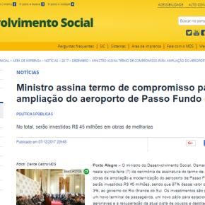 Ministro do MDS tira dinheiro da Assistência Social mas se compromete a investir R$ 45 milhões emAeroporto