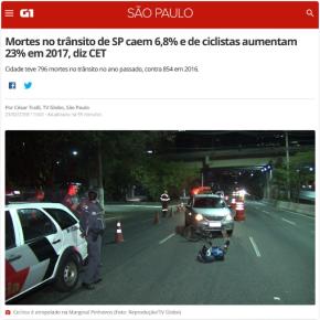 Macabra matemática tucana: Morte de ciclistas subiu 23% em São Paulo…mas mortes no trânsito caem6,8%
