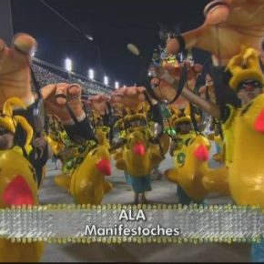 Tuiuti coloca patos amarelos e marionetes manipulados pela Globo naavenida