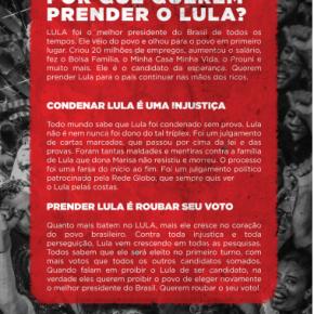 Por que Querem Prender o Lula? O Povo Quer Lula Livre!! – Participe daCampanha