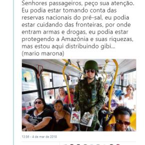 Soldados que deveriam estar guardando fronteiras, estão distribuindo gibis em ônibus doRJ