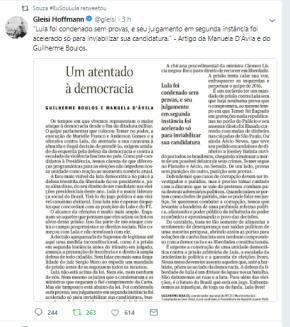 Twite (com print) de Gleisi  sinaliza caminho que petistas deveriam adotar com relação a grandemídia