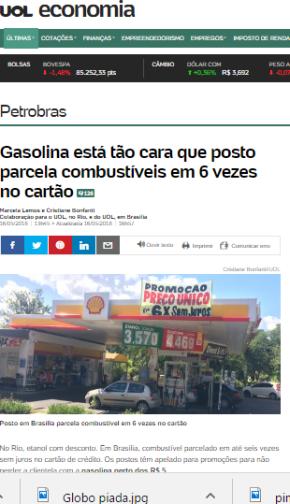 A conta do Golpe: Postos já parcelam gasolina em até 6 vezes. E os patospagarão?