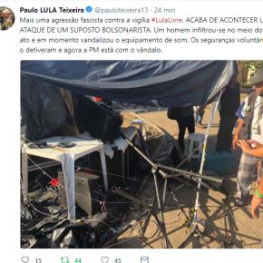 Mais um ataque Terrorista contra acampamento #LulaLivre em Curitiba (Video do criminosoatacante)