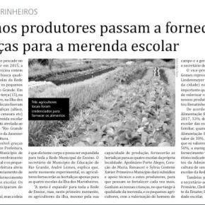 Pescado e hortaliças de pequenos agricultores fazem parte da Merenda Escolar em RioGrande