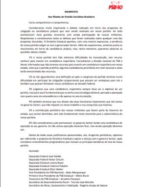 Em Manifesto, PSB de Beto Albuquerque, diz que apoio a Sartori é só para manter os cargos de seusapadrinhados