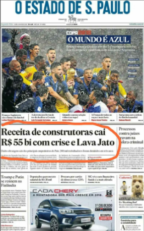 DESTRUIÇÃO  DE MILHÕES EMPREGOS PROMOVIDA PELA LAVA JATO, VIRA CAPA DOESTADÃO