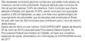 Em Pelotas só um terço das crianças foram vacinadas contra poliomielite (Paralisia Infantil) doBrasil