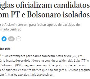"""Manchete midiática diz que """"PT e Lula estão isolados"""". E o povo nãoconta???"""