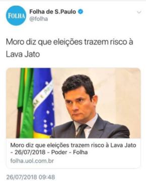 """Moro diz que """"eleições são um perigo para a LavaJato"""""""