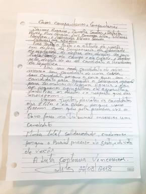 25 dias de #GrevedeFome: Lula envia carta aos grevistas defome