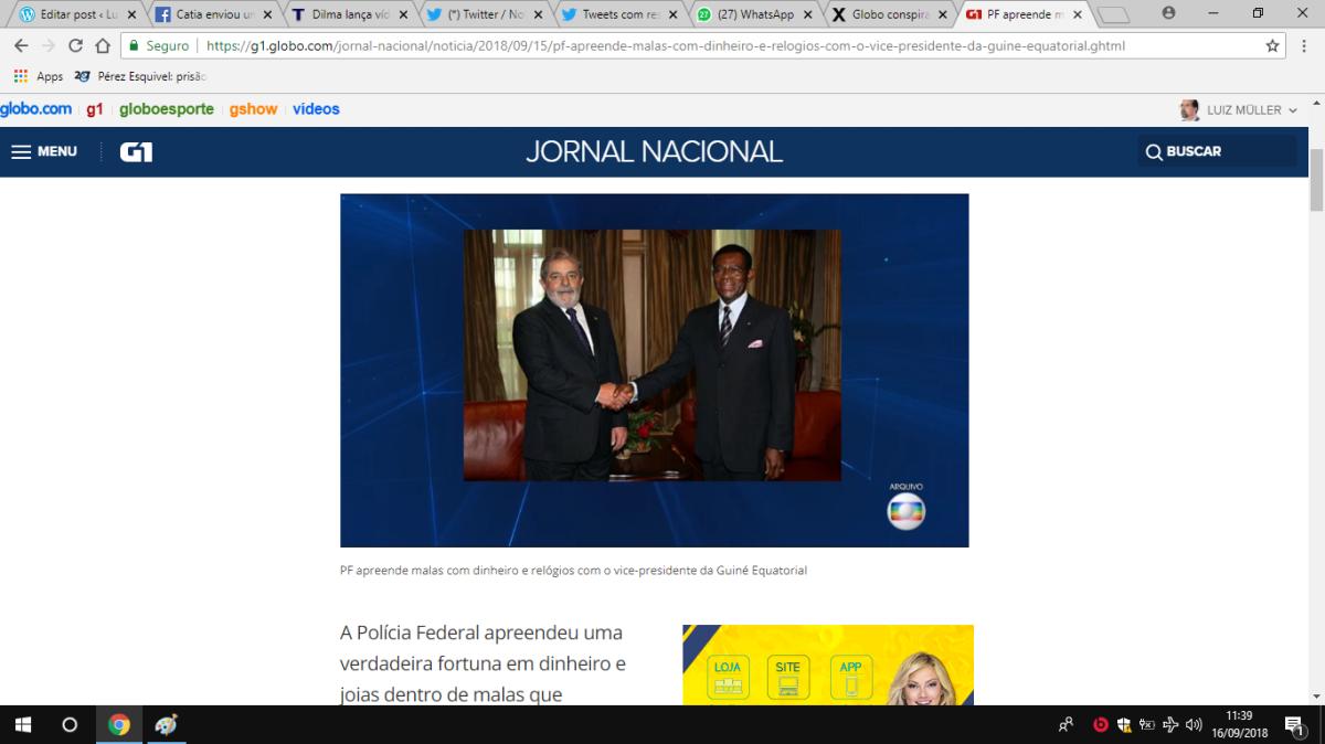 GLOBO CONSPIRA CONTRAELEIÇÃO: JN DE SÁBADO A NOITE NOTICIOU FAKE NEWS NA MAIOR CARA DE PAU