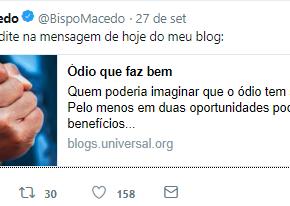 """Edir Macedo vai apoiar Bolsonaro e escreve que """"Ódio faz bem"""" em seuTwitter"""