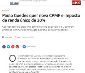 BOLSONARO QUER CLASSE MÉDIA PAGANDO MAIS IMPOSTO DE RENDA (20%) E RICOSMENOS