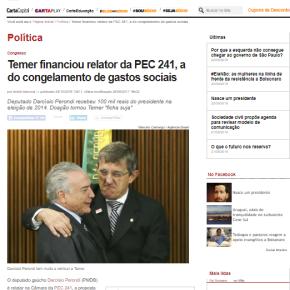 """Perondi, Relator da """"PEC da Morte"""",  recebeu R$ 100 mil de Temer em 2014, que virou ficha suja poristo"""