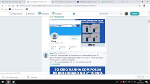 Na hastag #ViraViraCiro, basta clicar e ver a quantidade de bots presentes ali, além de perfis absolutamente estranhos, como gente que tem o Cabeçalho ou a foto do Perfil Lula, mas chamando voto em Ciro