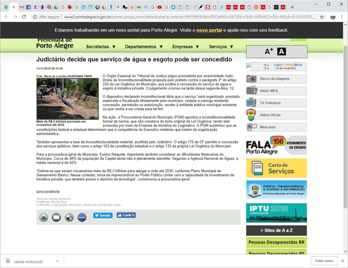 Vergonha: Judiciário autoriza Marchezan a atropelar a Lei e privatizar a Água dos Porto Alegrenses