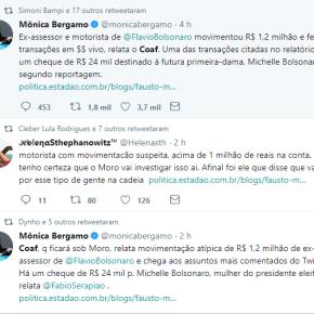 COAF : Movimentação suspeita de R$ 1,2 milhões em conta de motorista de Flavio Bolsonaro e até pagamento a 1ªDama