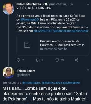 Surreal: Prefeito de Porto Alegre promove Safari de caça a PokemonGo para resolver problemas de PortoAlegre
