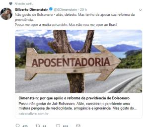 """Dimenstein defende acabar com aposentadoria e previdência Pública para que não """"haja caos""""… parabanqueiros"""