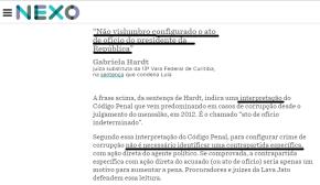 Revista Nexo: Juíza diz em sentença que condena Lula sem prova nenhuma,só porconvicção