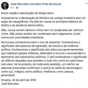 """Na Europa conhecemos bem o ovo da serpente"" responde José Socrates ao ""medíocre e indigno"" juizMoro"