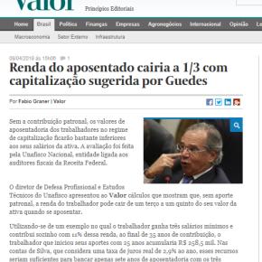 Valor Econômico: Renda do aposentado cairia a 1/3 com Reforma da Previdência de Guedes eBolsonaro