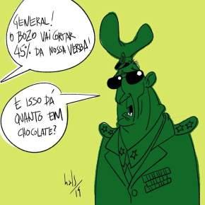 """Bolsonaro corta 45% do Orçamento das Forças Armadas.""""Isto dá quanto em chocolates?"""" perguntaBierhals"""