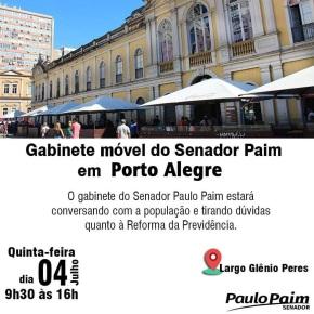 Reforma da Previdência :Gabinete móvel do Senador Paim na Rua em Porto Alegre nesta quinta(4/07)