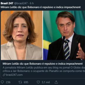 Para salvar Moro, Globo manda Miriam Leitão detonarBolsonaro