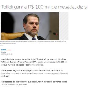 Toffoli ganha R$ 100 mil de mesada, dizsite