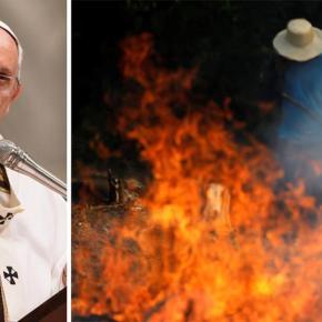 Papa pede ajuda para conter surto incendiário de Bolsonaristas naAmazônia