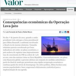 Valor Econômico diz que consequências econômicas da Lava Jato são milhões de desempregados e bilhões de reaisperdidos