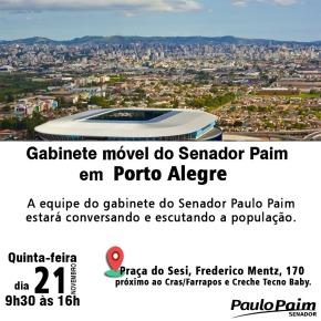 Gabinete Móvel do Senador Paim estará na Vila Farrapos, Porto Alegre, nesta quinta-feira, dia21