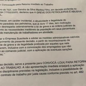 Carta com ameaças a Petroleiros é Terrorismo de Estado que deve ser parado antes que o Brasil afunde nabarbárie