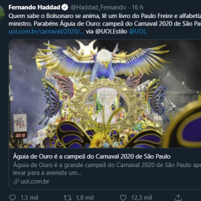"""""""Quem sabe Bolsonaro se anima, lê Paulo Freire e alfabetiza seu ministro"""" diz Haddad, sobre titulo da Águia deOuro"""