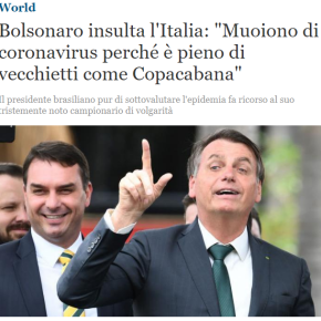 Enquanto Eduardo ataca a China, Bolsonaro insulta Itália. O clã  envergonha o Brasil nomundo!